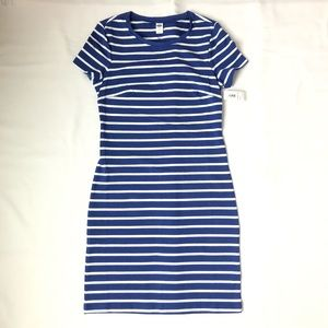 Blue and White Stretchy Striped Dress